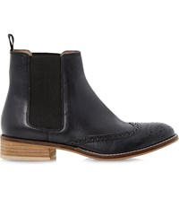 Dune Quentin Leather Brogue Chelsea Boots Black Leather