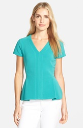 Halogen Ottoman Knit V Neck Peplum Top Regular And Petite Teal Peacock