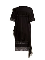 Givenchy Asymmetric Ruffled Trimmed Cotton Jersey Dress Black