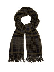 Acne Studios Canada Checked Wool Blend Scarf Green Multi