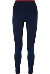Lndr Motion Paneled Stretch Knit Leggings Navy