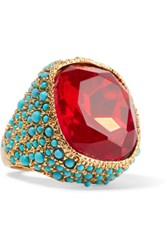 Kenneth Jay Lane Gold Plated Red