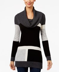 Inc International Concepts Colorblocked Cowl Neck Sweater Only At Macy's Black Grey