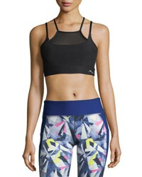 X By Gottex Power Mesh Overlay Sports Bra Black
