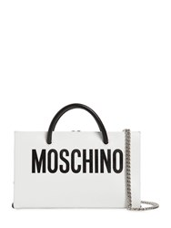 Moschino Mini Logo Printed Leather Shoulder Bag White