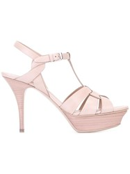 Saint Laurent Platform Buckled Sandals Pink Purple