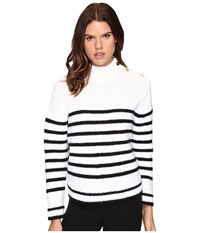 Kate Spade Stripe Alpaca Sweater Black Cream Women's Sweater