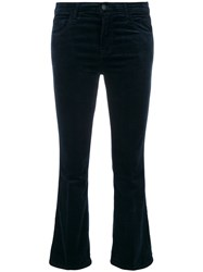 J Brand Flared Cropped Jeans Cotton Polyester Polyurethane Modal Blue