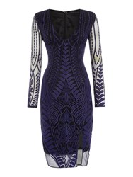 Lavish Alice Long Sleeved Embroidered Bodycon Dress Navy