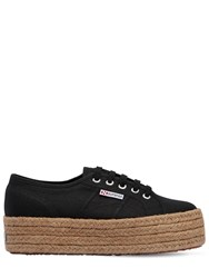 Superga 40Mm Canvas Platform Sneakers Black