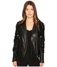 Lamarque Sheryl Sequin Leather Biker Jacket Black