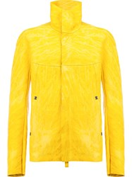 Isaac Sellam Experience Crinkled Effect Leather Jacket Yellow Orange