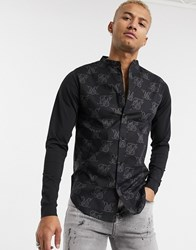 Sik Silk Siksilk Muscle Fit Shirt With Jersey Sleeves In All Over Logo Print Black