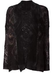 Avant Toi Open Knit Cardigan Black
