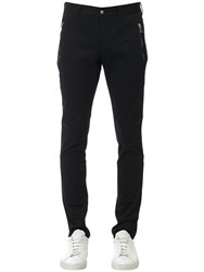 Balmain Embroidered Cotton Denim Chino Pants Black