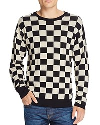 Marc Jacobs Broken Lines Wool Checkerboard Sweater Natural Black Combo