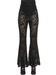 Dolce And Gabbana Flared Cordonetto Lace Pants Black