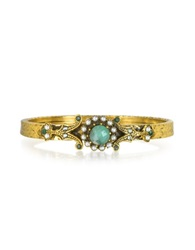 Alcozer And J Gold Plated Brass Pearls And Emerald Bangle