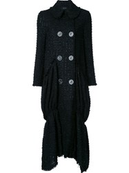 Simone Rocha Fine Tweed Long Coat Black