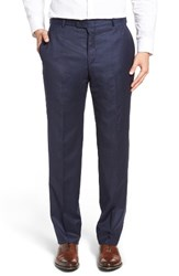 Hickey Freeman Men's Beacon Flat Front Solid Wool Blend Trousers Navy