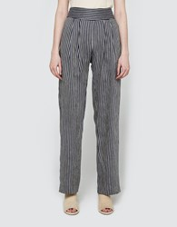 Matin Herringbone Pleat Front Pant Navy Stripe