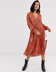 Free People C'est Moi Leopard Print Midi Dress Multi