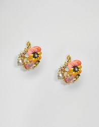 Les Nereides Les Nereides Pansy Floral Stud Earrings Multi