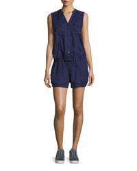 Joie Apoline Sleeveless Shorts Linen Romper Blue Dark Navy