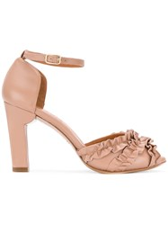 Chie Mihara Ruffle Panel Heeled Sandals Nude And Neutrals