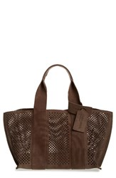 Pedro Garcia 'Castoro' Perforated Suede Tote Grey Silt