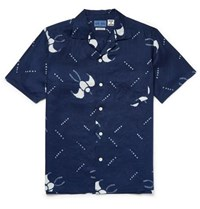 Blue Blue Japan Slim Fit Camp Collar Printed Cotton Gauze Shirt Indigo