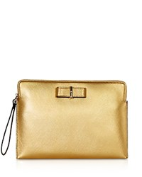 Karen Millen Bow Leather Clutch Gold