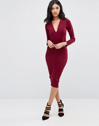 Honor Gold Jennie Midi Pencil Dress Wine Red