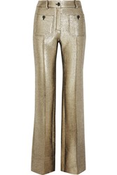 Roberto Cavalli Wool Blend Lame Flared Pants Gold