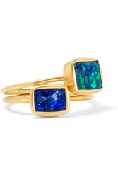 Pippa Small Sall Set Of Two 18 Karat Gold Opal Rings
