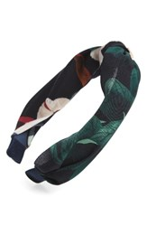 Cara Floral Knotted Headband Navy Multi