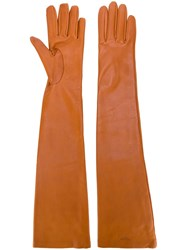 Rochas Long Gloves Brown