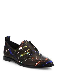 Loeffler Randall Agnes Splatter Paint Leather Oxfords Black Multi