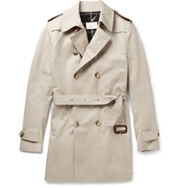 Sandro Double Breasted Cotton Trench Coat Neutrals