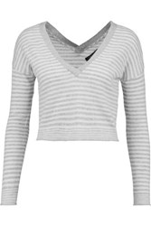 Alice Olivia Callan Cropped Striped Wool Blend Top Off White