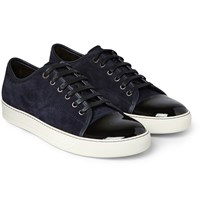 Lanvin Suede And Patent Leather Sneakers