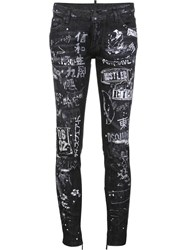 Dsquared2 'Skinny' Painted Jeans Black
