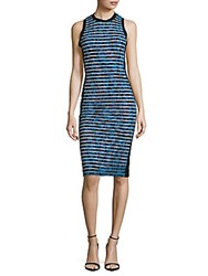 Nicole Miller Striped And Printed Sheath Dress Blue