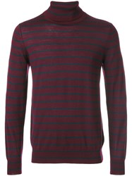 Closed Striped Roll Neck Jumper Virgin Wool Xl Red