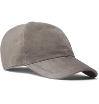 Brunello Cucinelli Leather Trimmed Suede Baseball Cap Gray