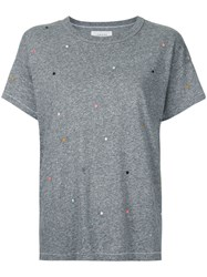 The Great Boxy Embroidered T Shirt Women Cotton Polyester Rayon 2 Grey