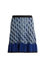 Mary Katrantzou Pollie Snuffbox Print Knitted Skirt Blue Multi
