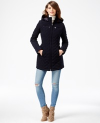 Laundry By Design Petite Faux Fur Lined Quilted Velour Coat Navy