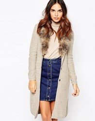 Warehouse Fur Collar Cardi Beige