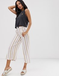 Rvca Fully Noted Trouser In Stripe Cream